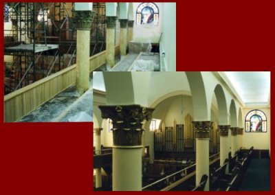 Church interior Before and After